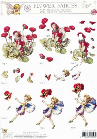 Flower Fairy 6 Pansy & Double Daisy Flower Fairy by Cicely Mary Barker 3d Decoupage Sheet